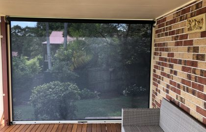 looking out through a ziptrak blind in palmwoods